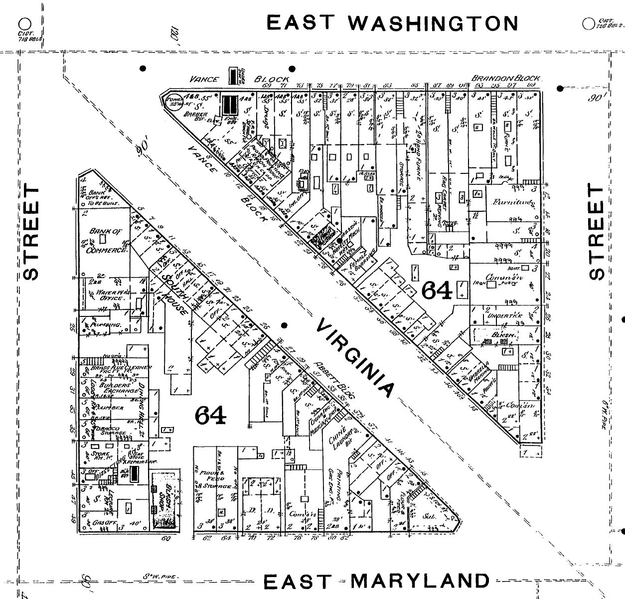 South House, 1887 Sanborn map