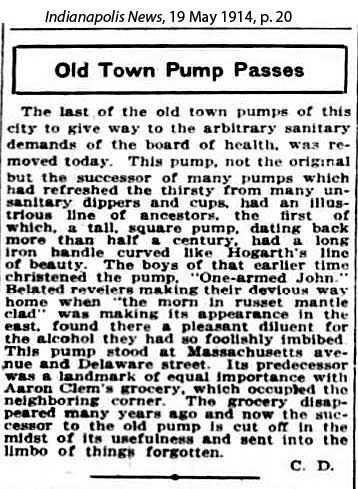 Massachusetts and Delaware, old pump article, Indianapolis News, 19 May 1914 p20
