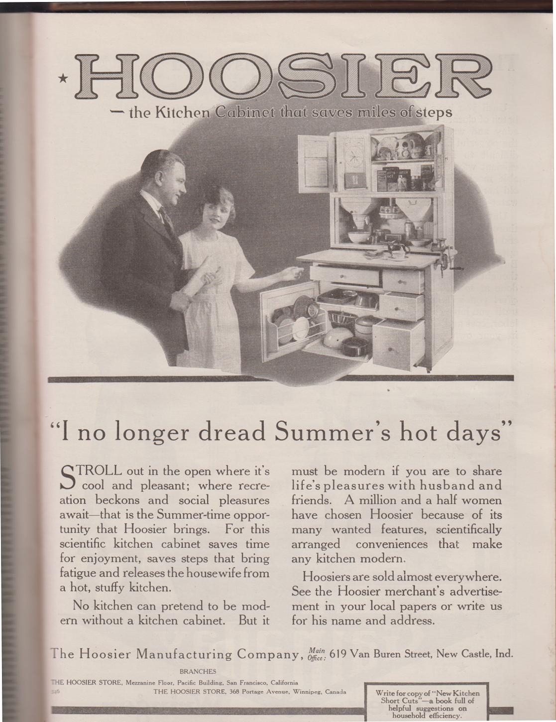 Sunday Adverts Hoosier Kitchens Cabinets And Refrigerators In 1919