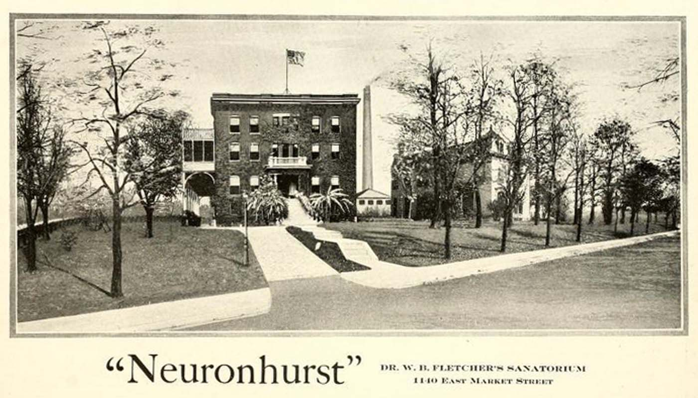 "Then and Now: Dr. William Baldwin Fletcher's Sanatorium ""Neuronhurst"" 1140 E. Market Street"