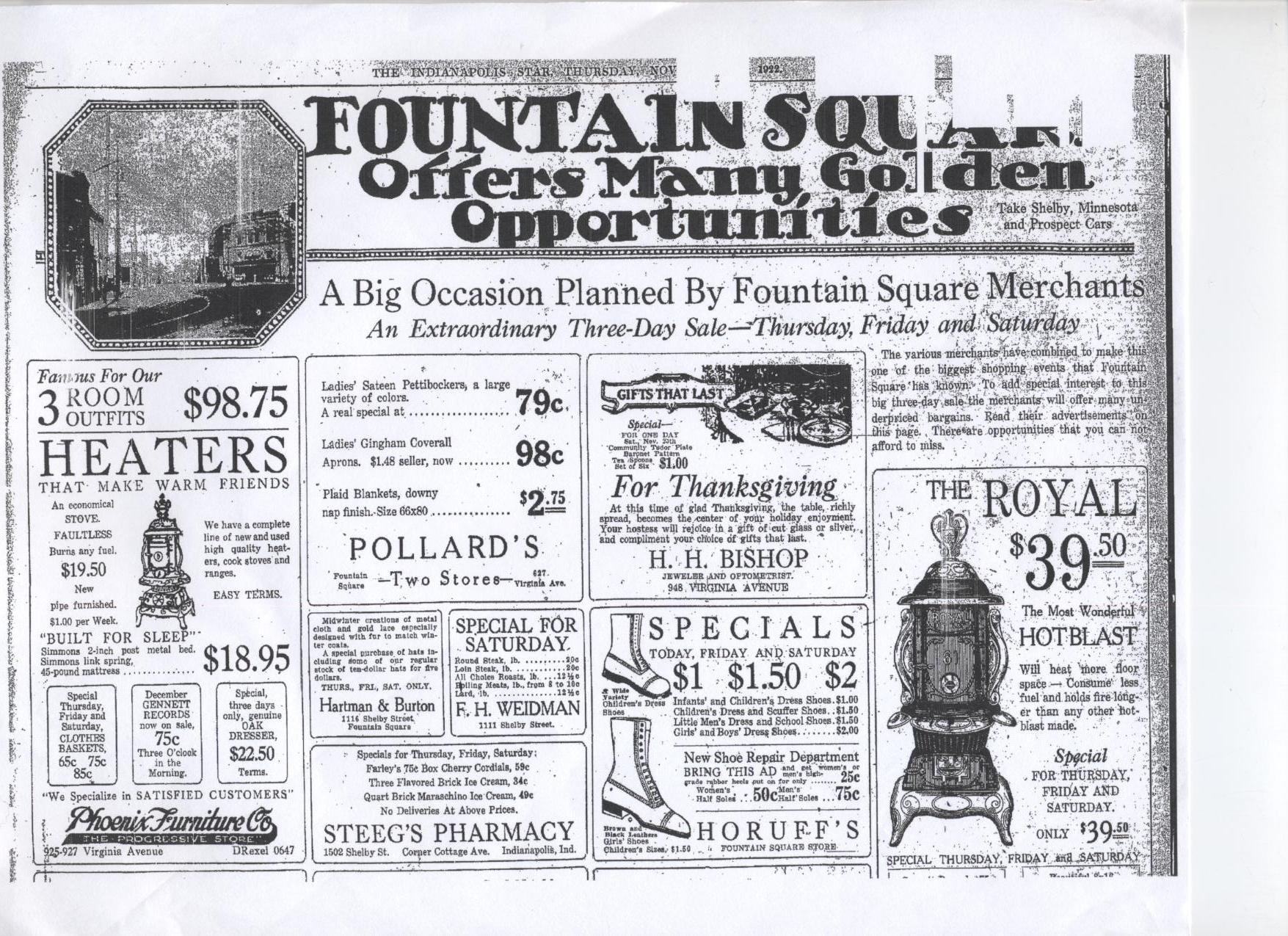 Sunday Adverts: A full page of Fountain Square