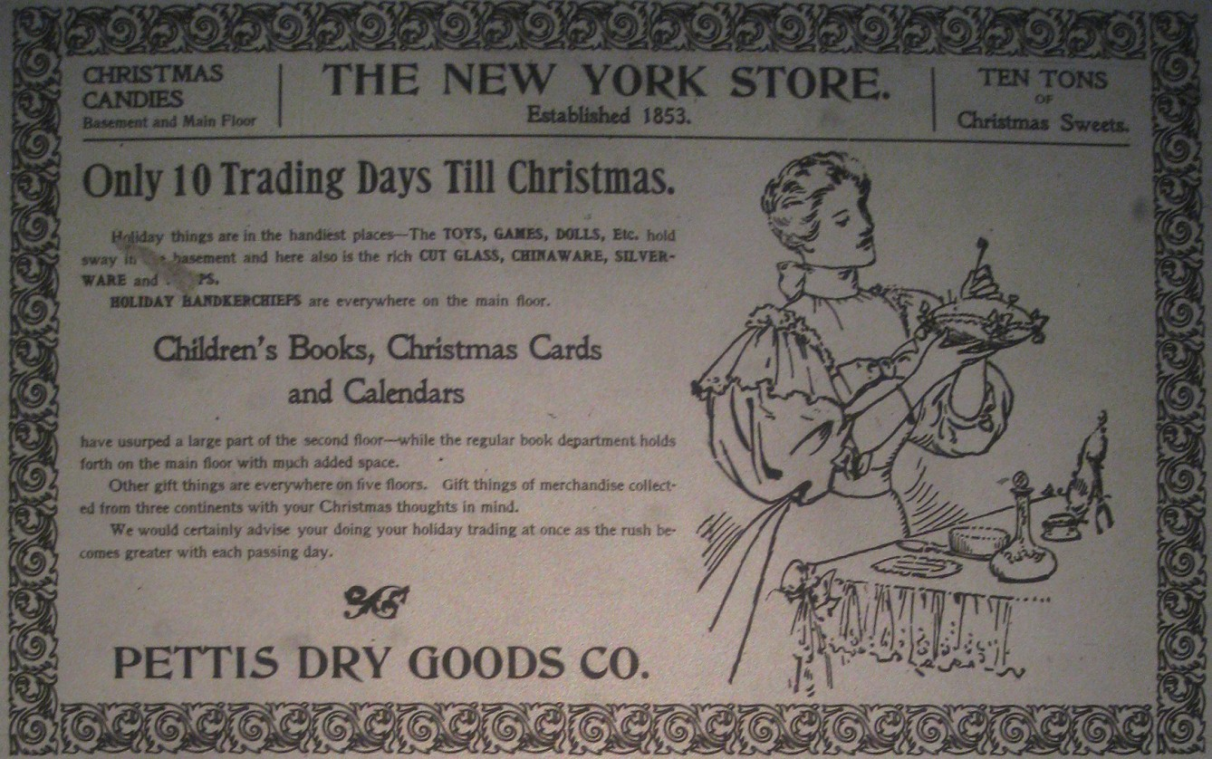 Sunday Adverts: Pettis Dry Goods, E. Washington