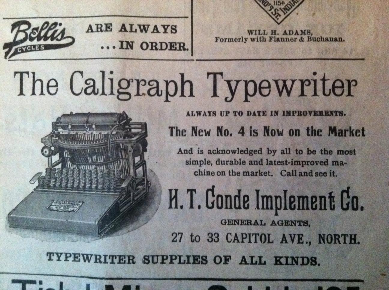 Sunday Adverts: Caligraph Typewriter