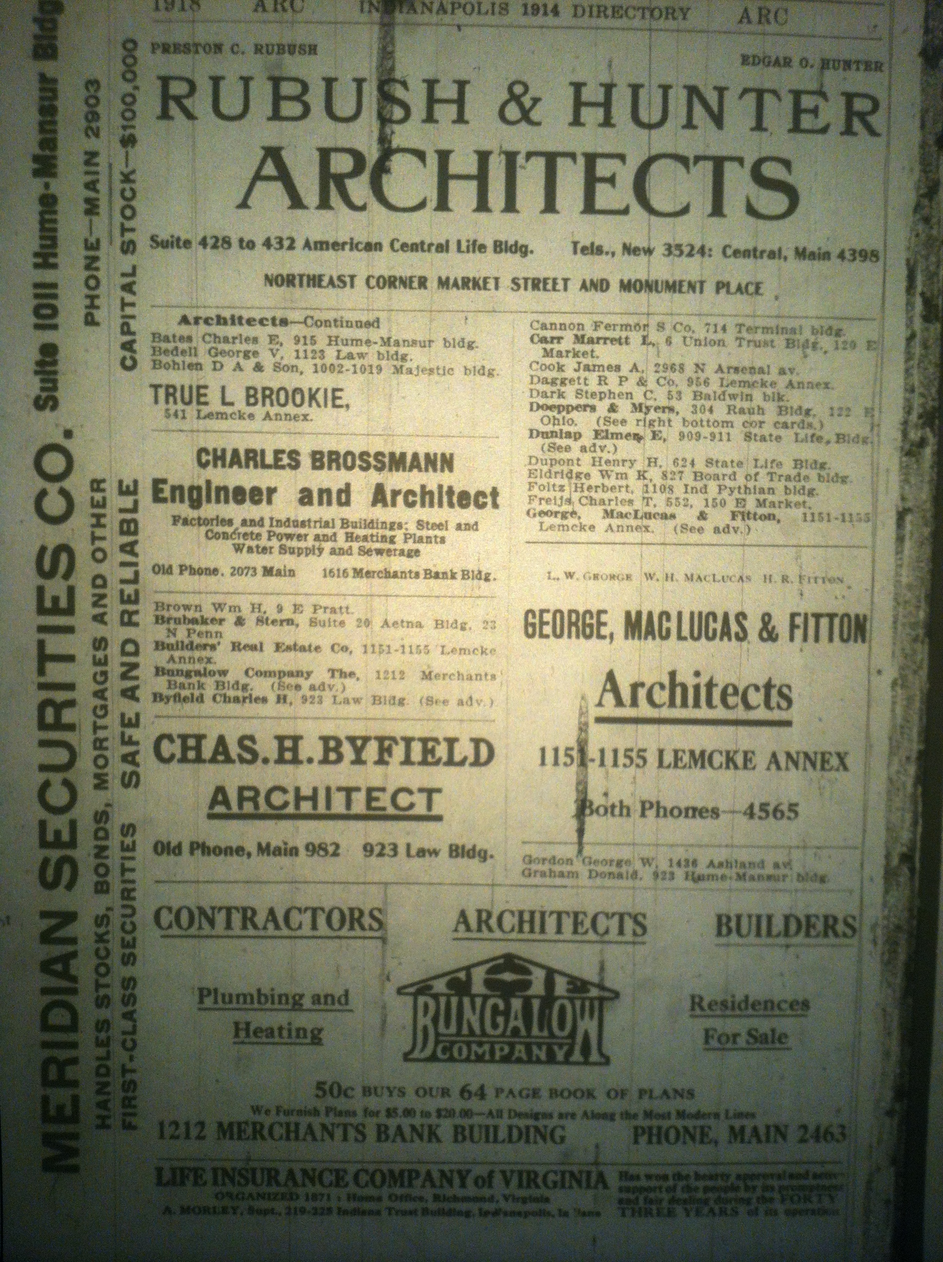 Sunday Adverts: Architects in 1914 Indianapolis