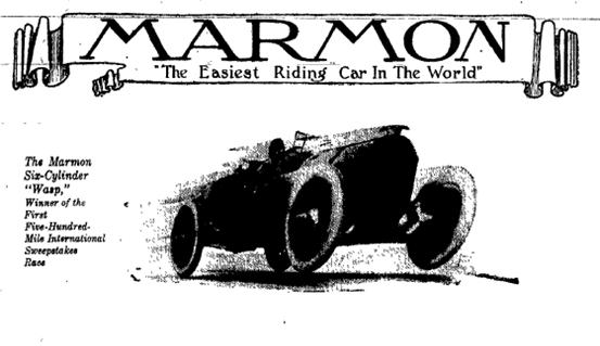 Sunday Adverts: First Car to Win Indy 500, Marmon Wasp