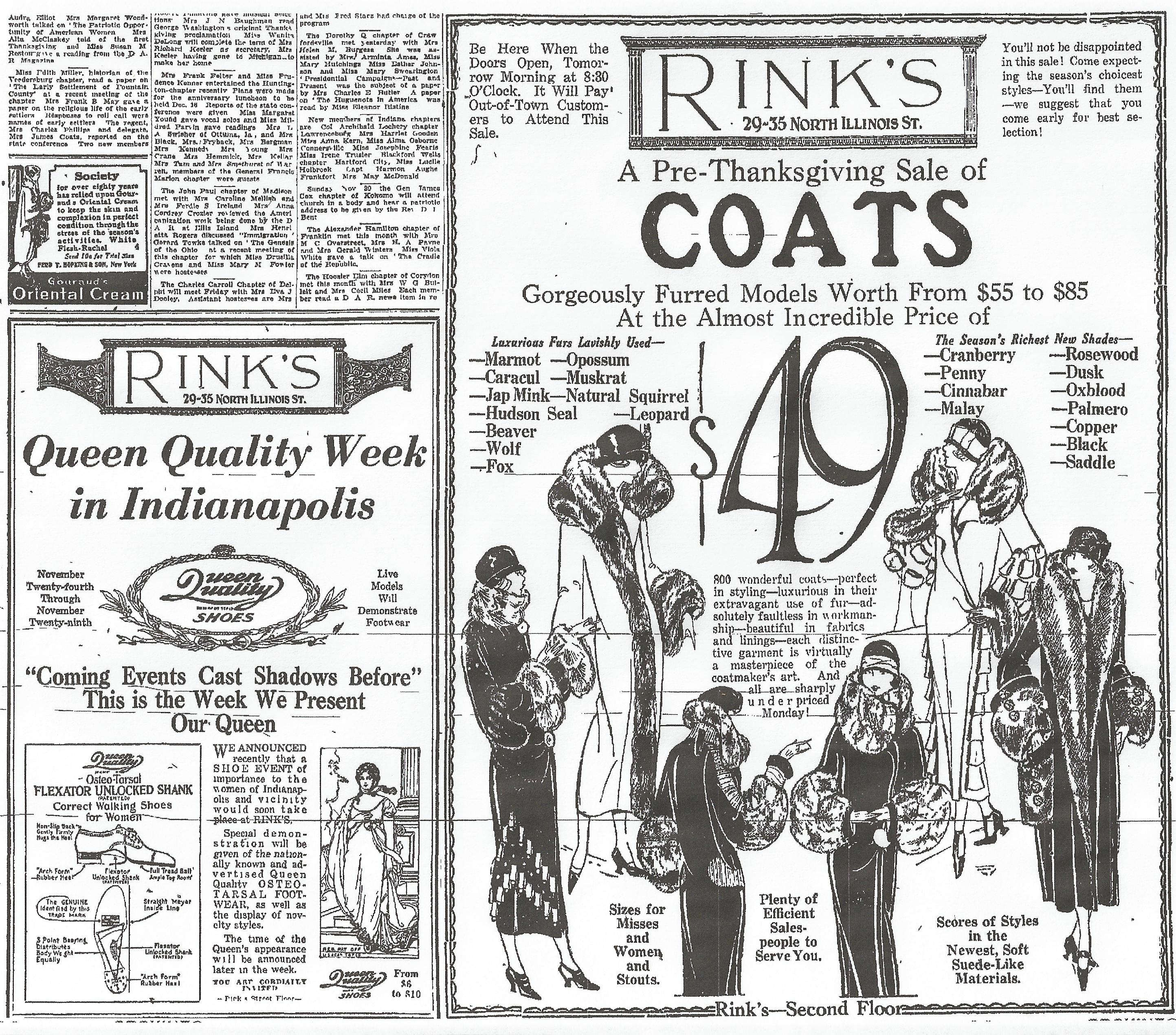 Sunday Adverts: Rink's for Coats