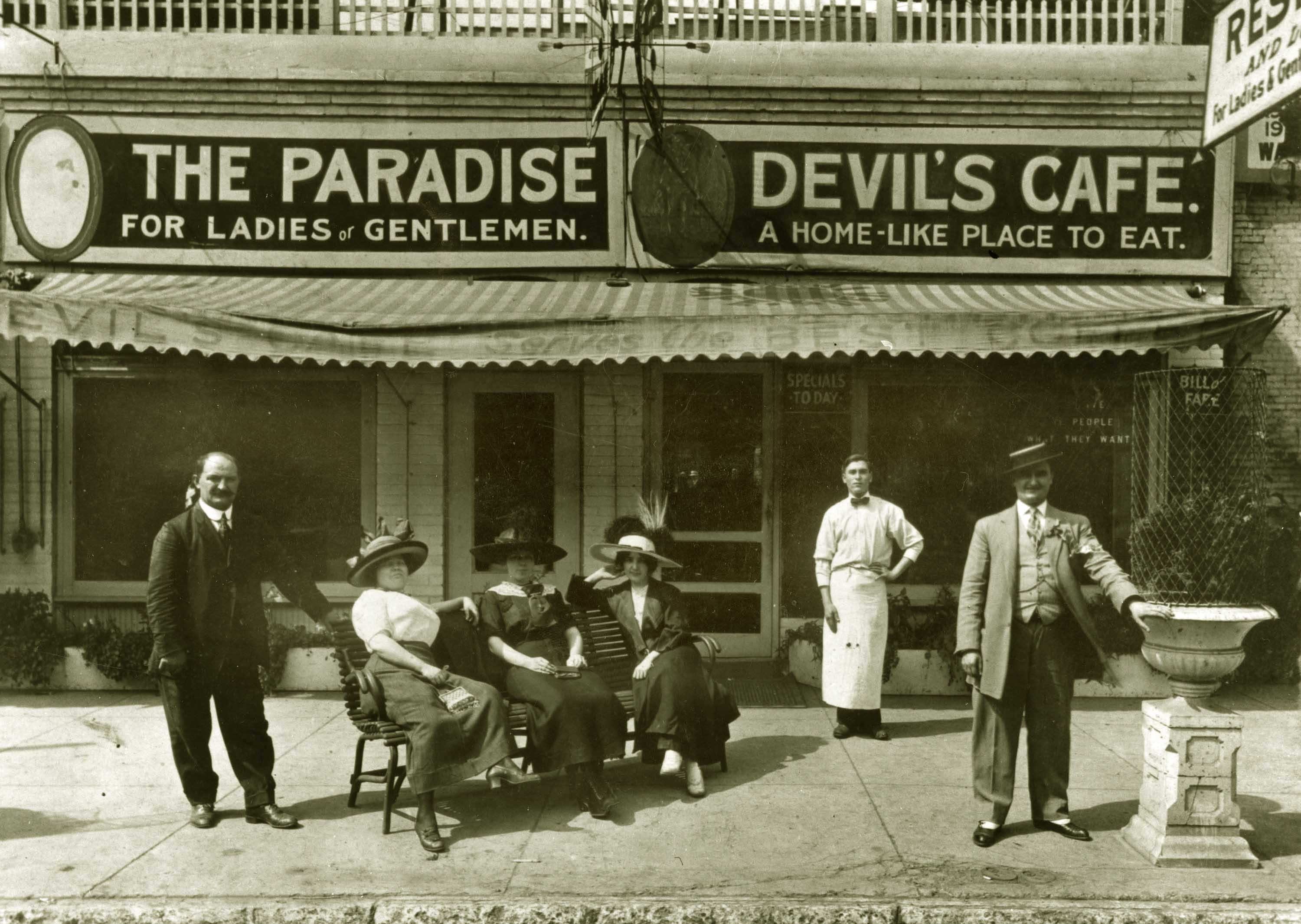 Indianapolis Then and Now: The Paradise and Devil's Cafe, 108-110 W. Maryland Street