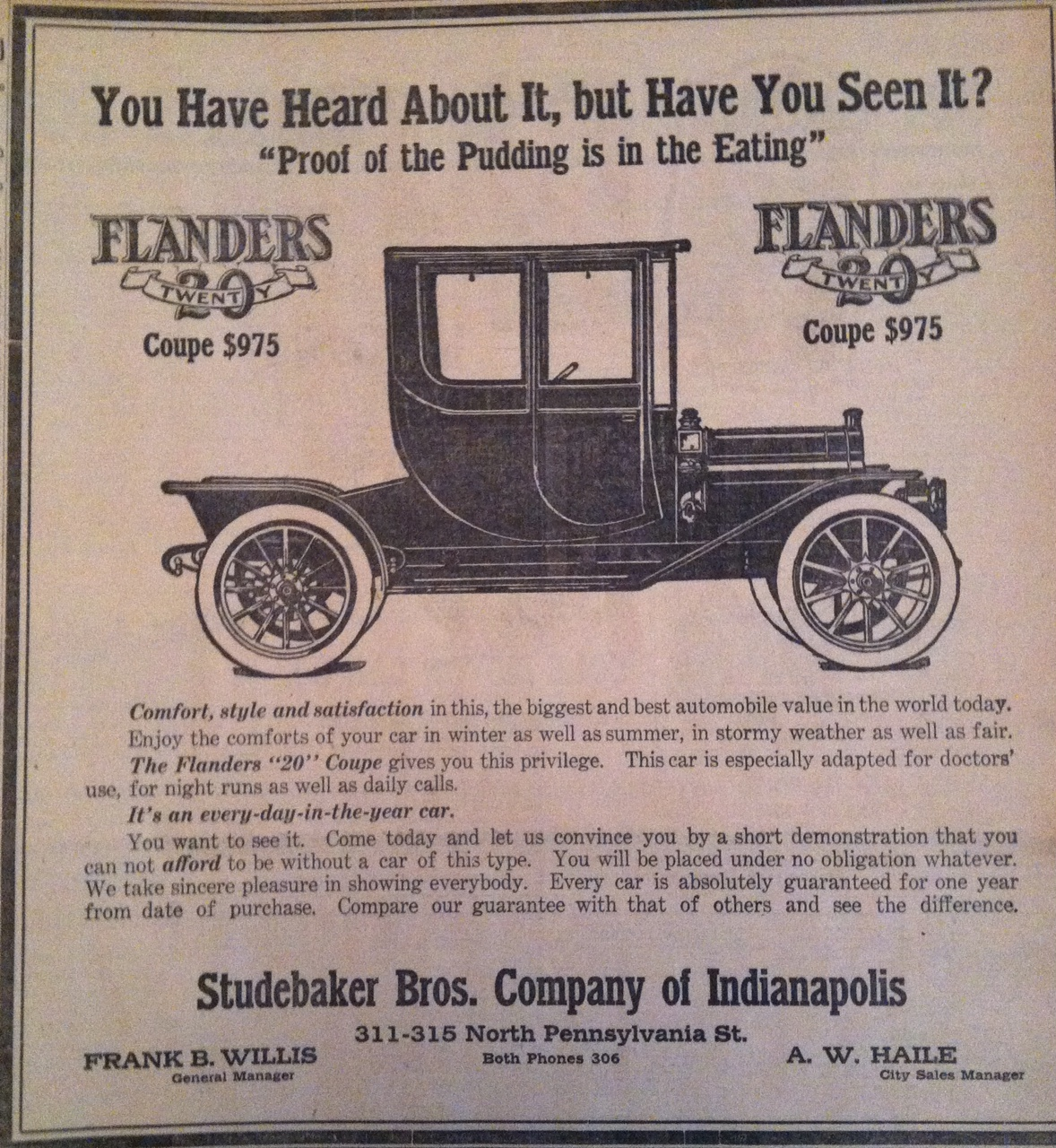 Sunday Adverts: 1910 Southbend Comes to Indy