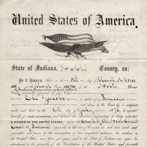 Indiana Naturalization Certificate