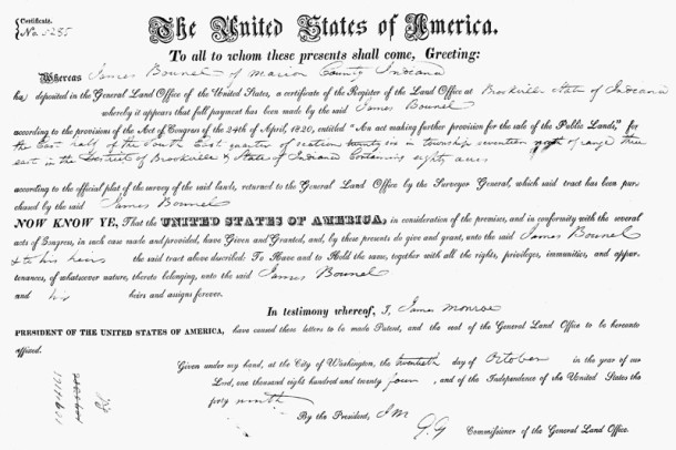 1823 Land Patent from the U. S. Government to James Bunnel