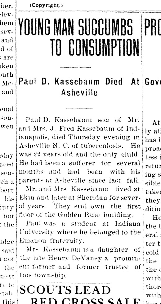 Fred and Bertha Kassebaum's only child died from tuberculosis