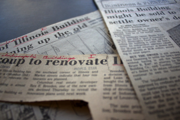 Various 1980s headlines concerning the Illinois Building. (Newspaper clippings are housed at the Indiana State Library.)