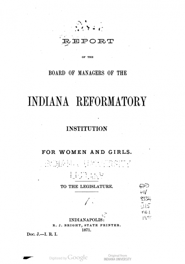 Report of the board of managers of the Indiana Reformatory