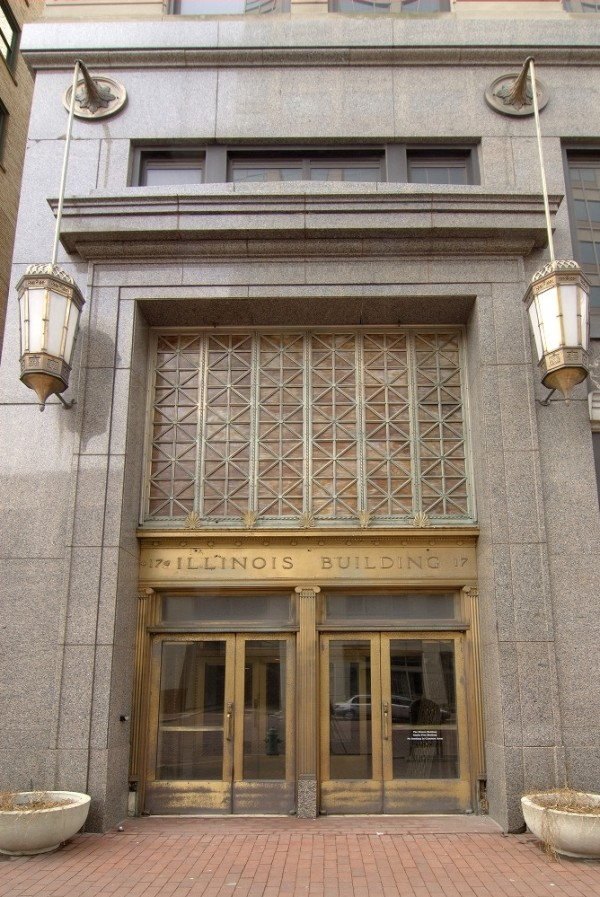 The Market Street entrance into the Illinois Building. The doors and vestibule were made of bronze, and were constructed in order to protect the lobby from the weather. (Photo © 2008 Indiana Historical Society)