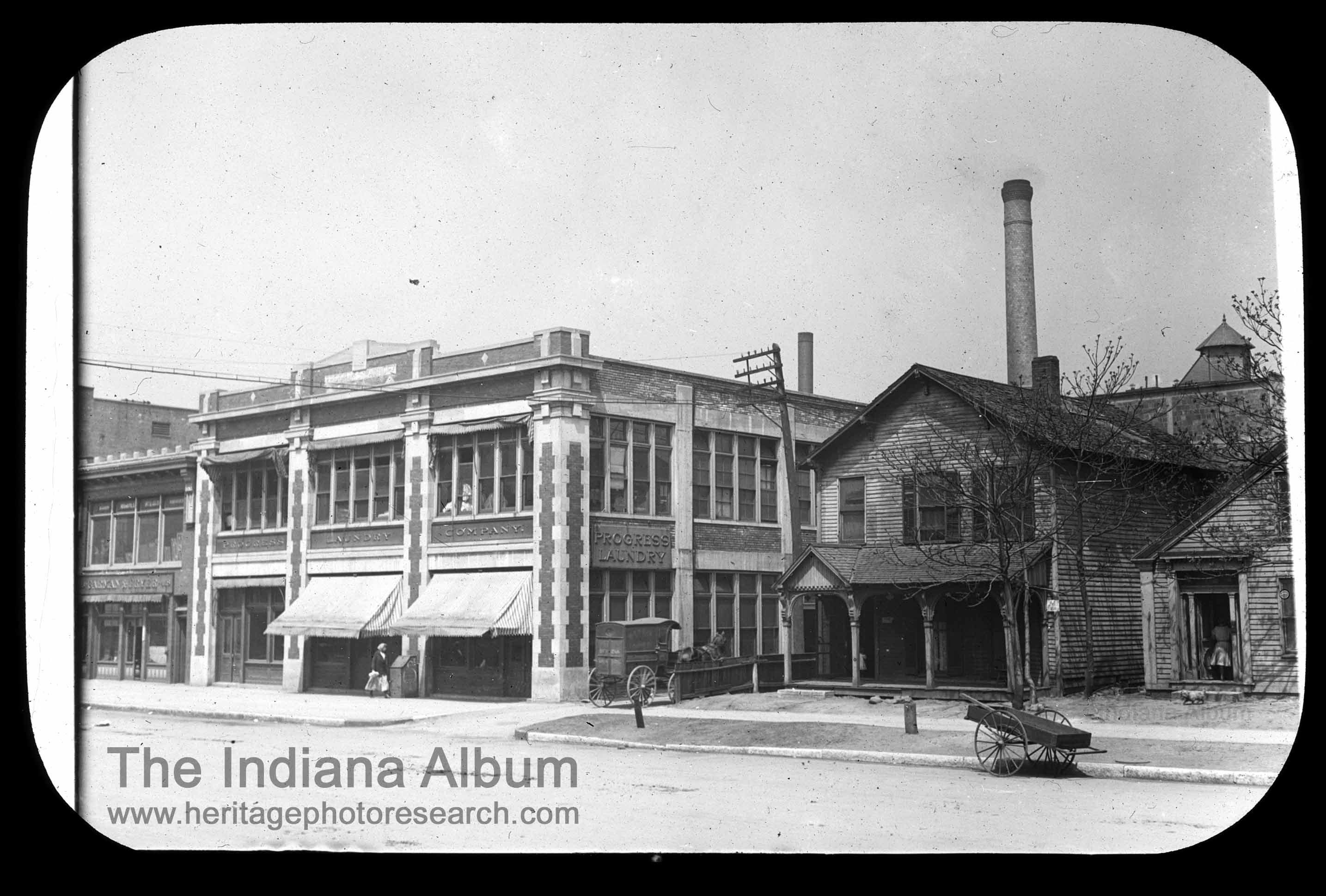 Indianapolis Then and Now: Progress Laundry, 422-26 E. Market Street