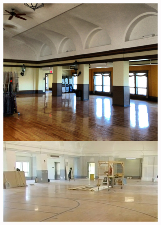 below - restoring the old basketball court into a multipurpose room (above)