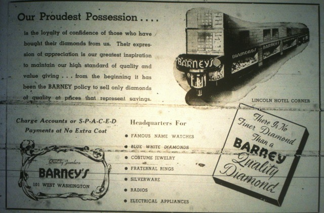 Sunday Ad: Barney's Jewelers, Lincoln Hotel