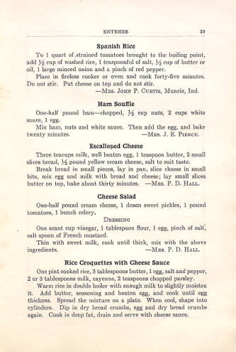 A page from the Tabernacle Presbyterian 1922 cookbook