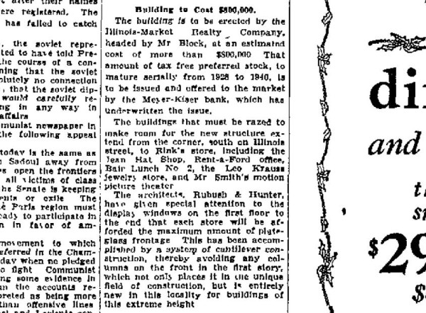This section of a Dec. 7, 1924, article published in The Indianapolis Star discusses the funding of the Illinois Building. The cost of construction was estimated at $800,000, which is more than $100 million today.
