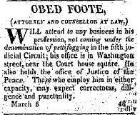 Sunday Adverts: Obed Foote, Atty at Law