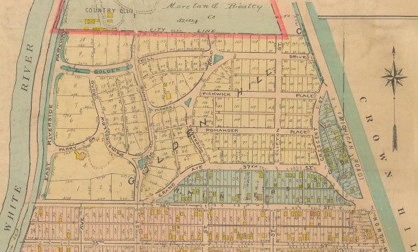 1916 Baist Map of the newly platted Golden Hill Addition, originally the country estate of the David MacLean Parry family      (map courtesy of IUPUI Digital Library)  CLICK TO ENLARGE