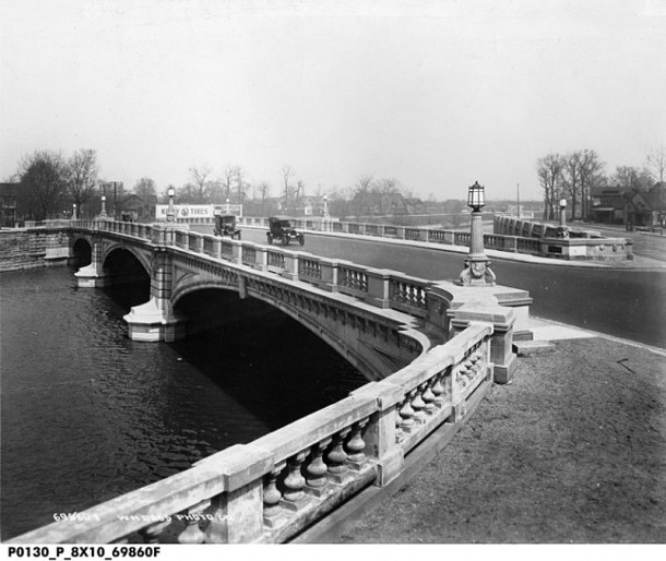 Meridian Street Bridge over Fall Creek, as it appeared in 1920 (photo courtesy of the Indiana Historical Soceity)