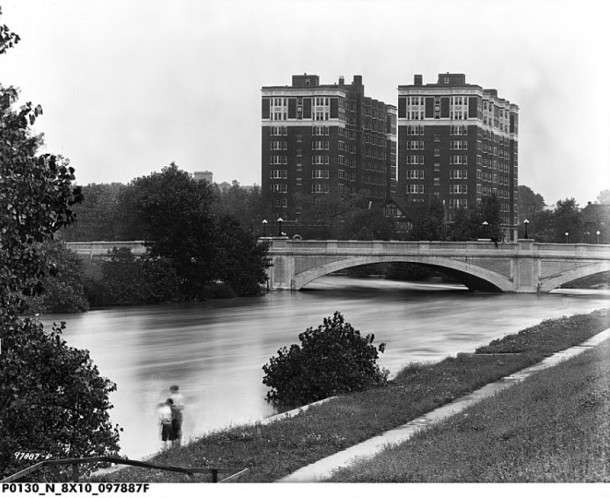 View of Fall Creek and the Marott from the south banks (photo courtesy of Indiana Historical Society)