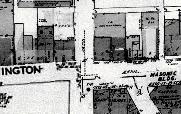 The 1956 Sanborn shows the growth of the commercial district in Irvington. The Masonic Building (constructed in the early 1920s) is now visible.
