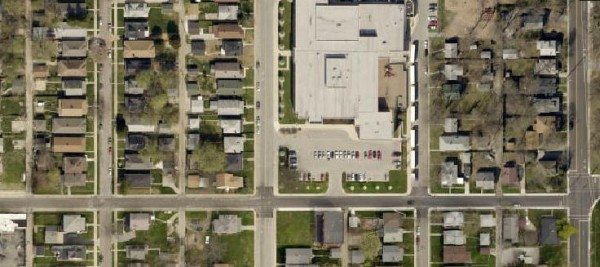 The 40th and Capitol area in 2012 (satellite image provided by MapIndy). The original James Whitcomb Riley school has been replaced with a parking lot, but much of the neighborhood has remained the same since it was first inhabited.
