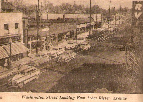 This 1950 photograph of the dense 5500 block of East Washington greatly contrasts with the parking lots now populating the block. The Stevenson Building appears on the left. (photo courtesy Vintage Irvington)