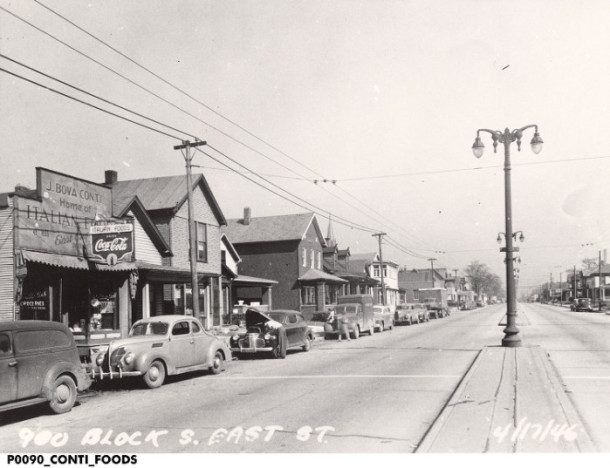 Looking north at the 900 block of S. East Street, April 1946. Courtesy of the Indiana Historical Society, Italian American Collection.
