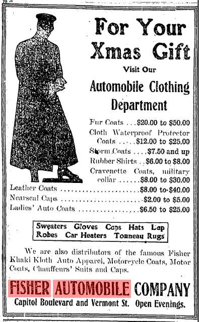 Fisher Automobile Company Ad 1908,