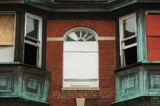 Lodge facade, copper warping on left, (c) photo by Kurt Lee Nettleton, 2013