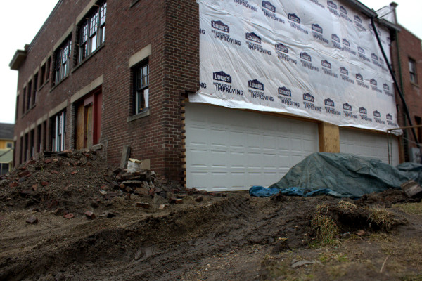 Rear view of 1654 N. Alabama Street, as seen March 1, 2013. Each luxury condo will feature a two-car attached garage. (photo by Dawn Olsen)