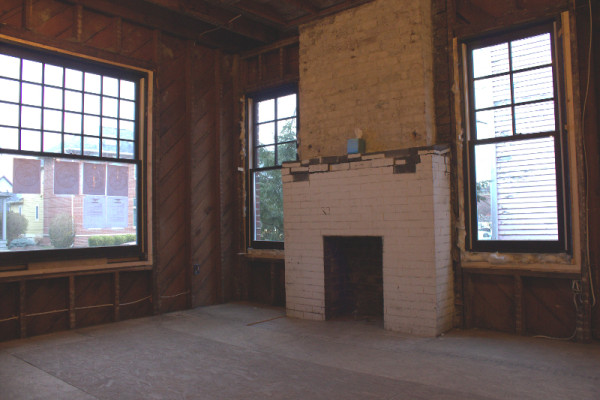 Each condo will have a fireplace. The fireplace mantles will be replaced, though interior architect Brent Mather is still brainstorming what to install. (photo by Dawn Olsen)