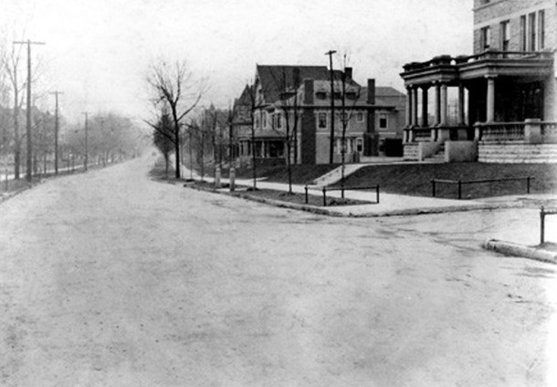 The view facing north on N. Meridian Street at 21st Street (photo courtesy of Indiana Historical Society)