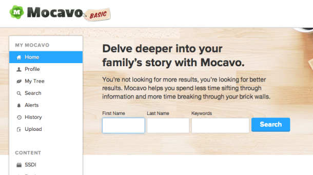 The Mocavo search engine home page