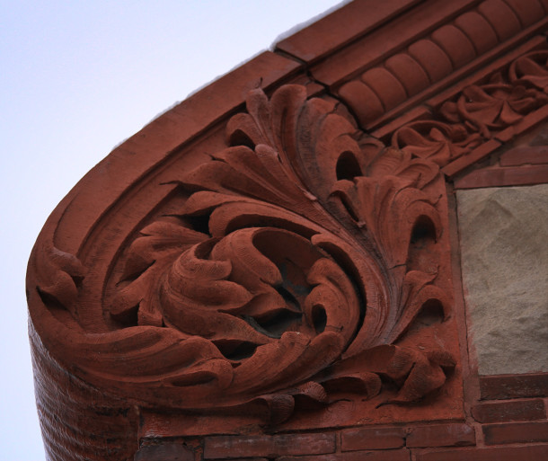 Detail of terracotta scroll, Briggs Flats, 2013, (c) photo by Kurt Lee Nettleton