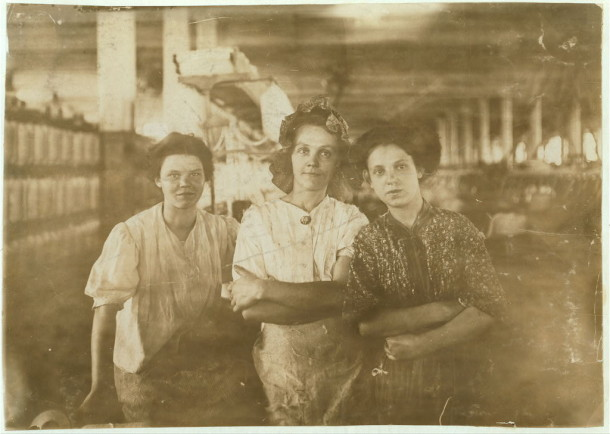 Women at an Indianpolis Cotton Mill, August 1908. Image via Library of Congress, LOT 7479, v. 1, no. 0009