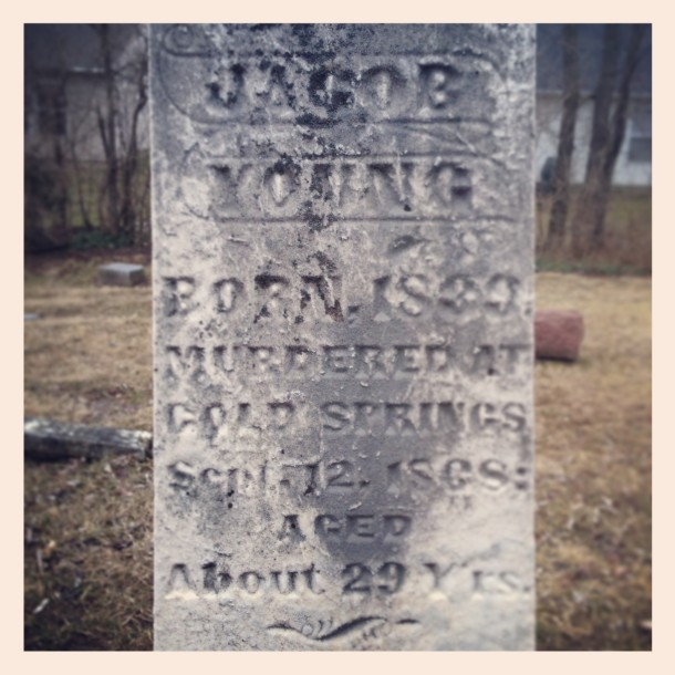 Tombstone of Jacob Young, behind the Indianapolis Church of Christ on 6001 W. 52 St.
