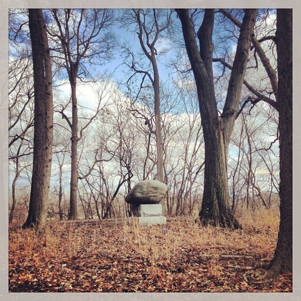 Monument in the woods.