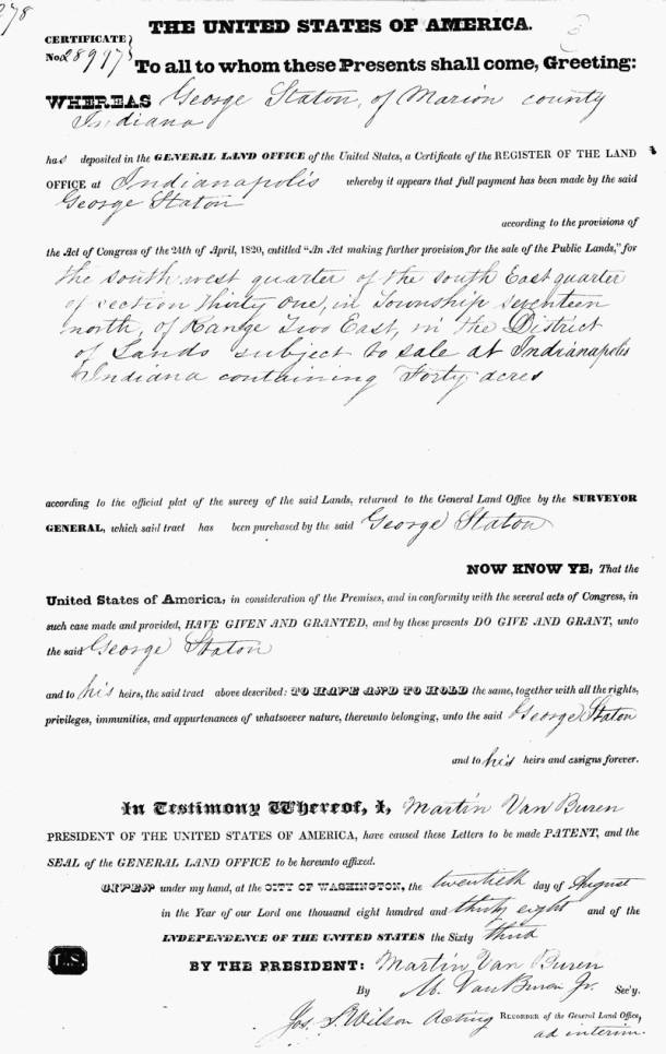 One of several land patents issued to the Staton family in Marion and Boone Counties (image courtesy of Ancestry.com