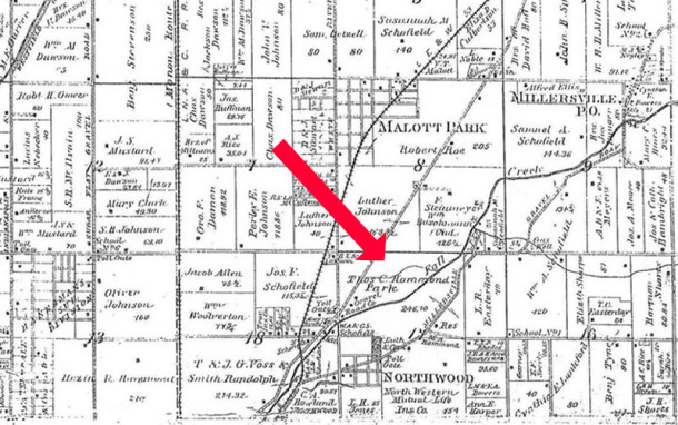 The nearest town to Thomas and Martha Hammond's property was Millersville, located at the end of a toll road to the northeast(Excerpt from the 1889 Atlas of Washington Township courtesy of the Indiana State Library) CLICK TO ENLARGE