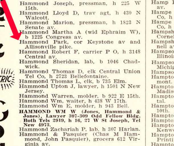 The 1913 Indianapolis City Directory Listed Hammond's Park in a location north of Fall Creek (scan courtesy of IUPUI Digital Archives)