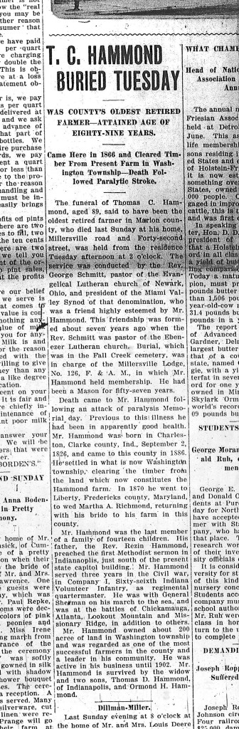 Obituary of Thomas C. Hammon in the June 9, 1916 Marion County Mail (image scan courtesy of the Indiana State Library