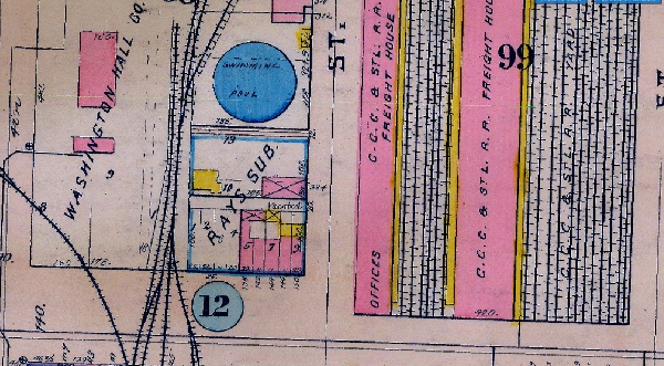 The 1916 Baist Map shows that the larger gas holder for the Indianapolis Gas Company was converted into a swimming pool, Indianapolis' first.