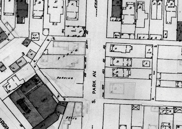 "In the 1956 Sanborn Map, the four homes on the west side of South Park Avenue had been demolished to make way for a parking lot. 429 S. Park Ave. had been leveled as well. (However, 429 S. Park Ave. is now the address of the Caito Bungalow, which was moved from its original location in the 1990s. The home is known as ""The Banana House"" and was featured on HGTV's ""If Walls Could Talk."")"