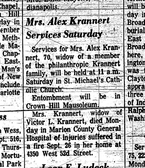 Brief obituary in The Indianapolis Star reporting the death of Alex Krannert in December of 1970 (scan courtesy of Indianapolis-Marion County Public Library