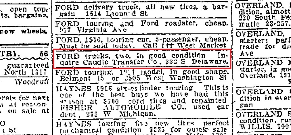 Caudle Transfer Co., located on South & Delaware, placed an ad in The Indianapolis Star on Nov. 23, 1917.