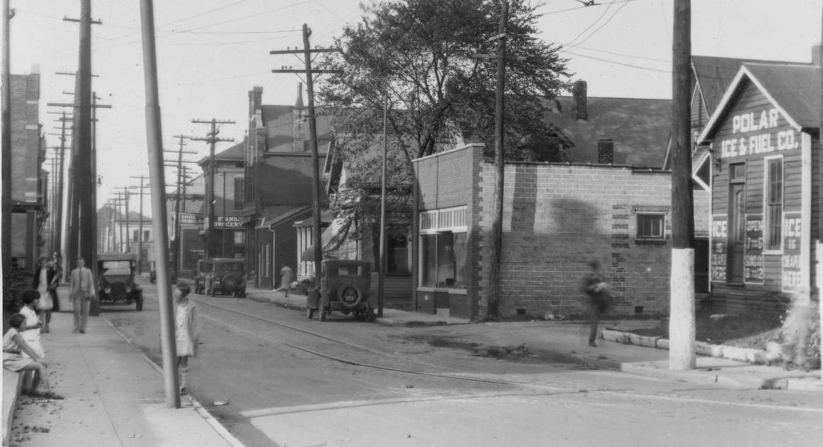 Indianapolis Then and Now: 1100 Block of S. East Street near Prospect, 1927